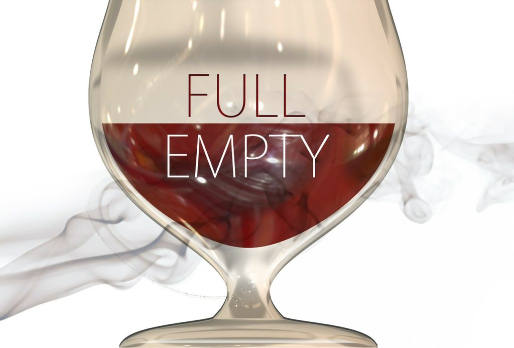glass half full, half empty